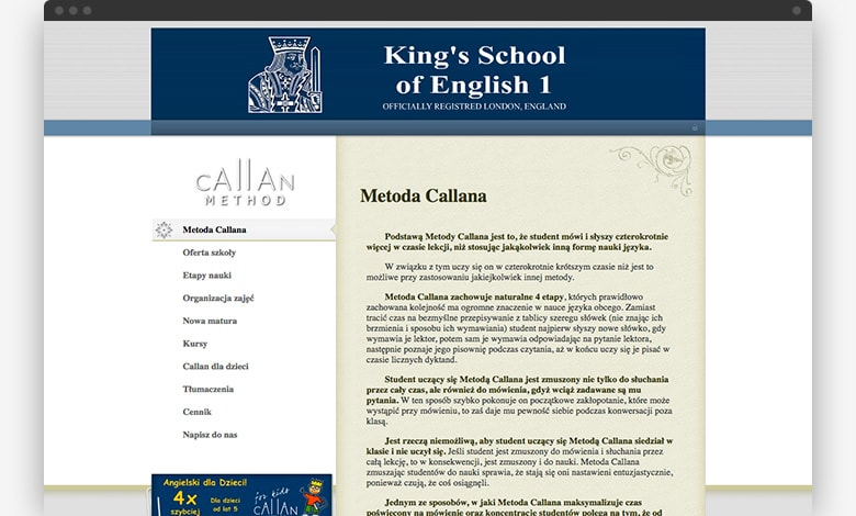 King's Shool website 2006