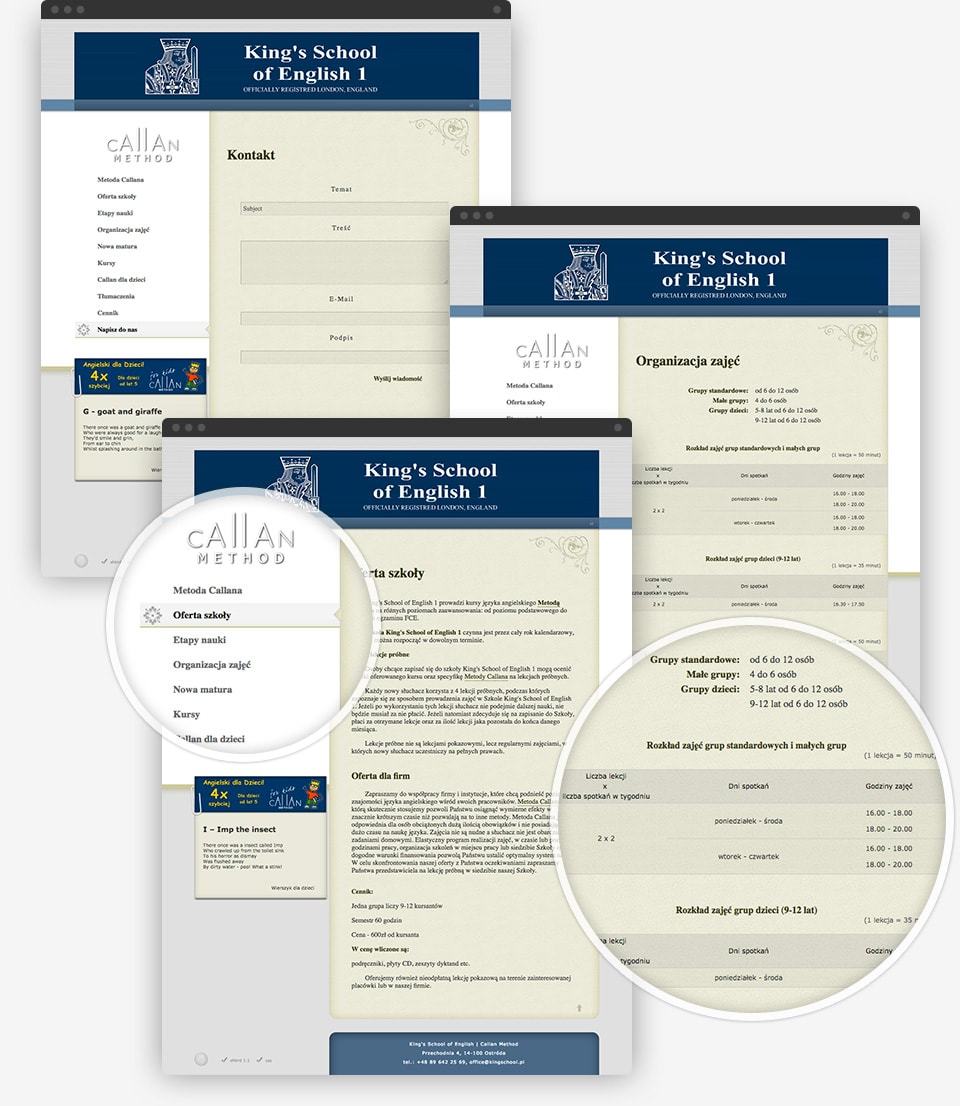 King's School of English 2006 website preview